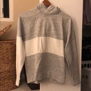 Grey and white striped hoodie